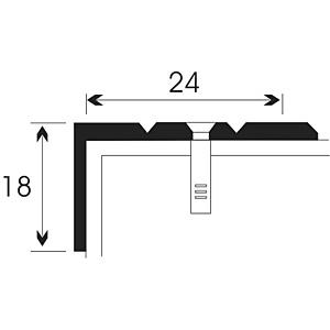 Порог Д3, для кромок ступеней, два желобка, 24х18мм.