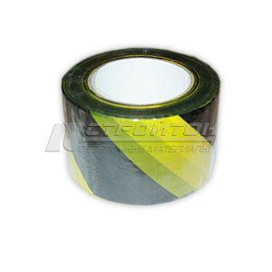 Лента сигнальная, желто-черная, неклейкая, 75ммх200м (12)