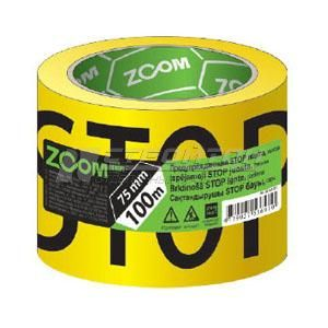 Лента ZOOM Предупреждающая STOP, 80ммх100м, желтая