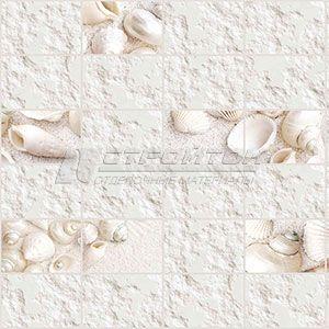 Панель ПВХ Граненый прямоугольник Белые ракушки 960*480мм (10)