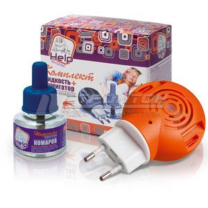 80502 HELP Комплект против комаров: фумигатор и жидкость 30 ночей, инсектицидная /24 – фото 1