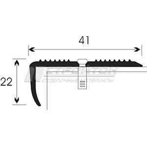 Порог Д13, для кромок ступеней, рифленый, 41х22мм.