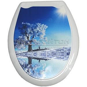 Сиденье для унитаза (жесткое) ОКЕАН Белое дерево (10)