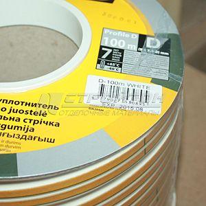 Уплотнитель  ZOOM  D-профиль, белый, 100м (6)